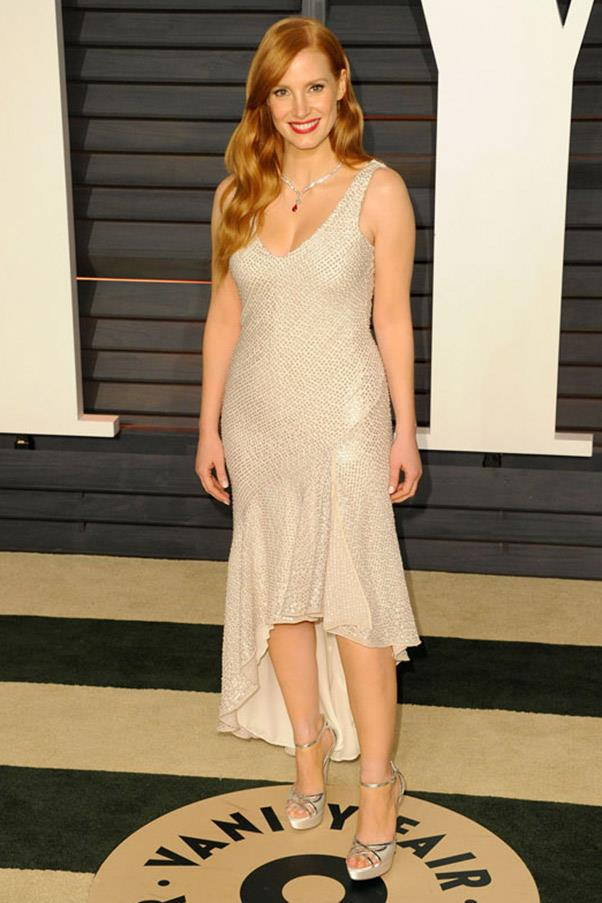 Jessica Chastain in an H&M Concsious Collection dress.