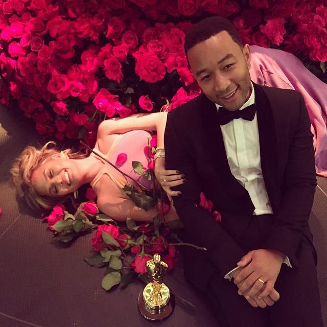 9. When John Legend and Chrissy Teigen basked in a bed of roses after Legend took home an Oscar. <br><br><em>Photo: Instagram/@johnlegend</em>