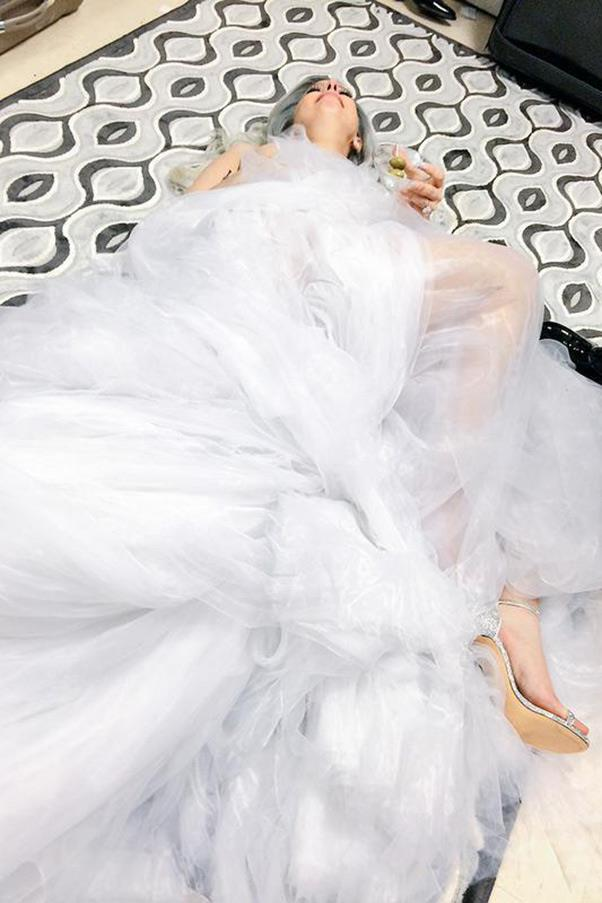 3. When Lady Gaga collapsed with a much-needed martini after killing it with her Sound of Music homage. <br><br><em>Photo: Twitter/@ladygaga</em>