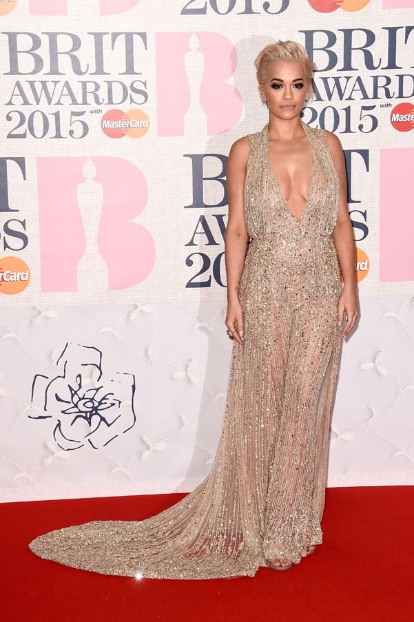 Rita Ora in a glittering Zuhair Murad jumpsuit.