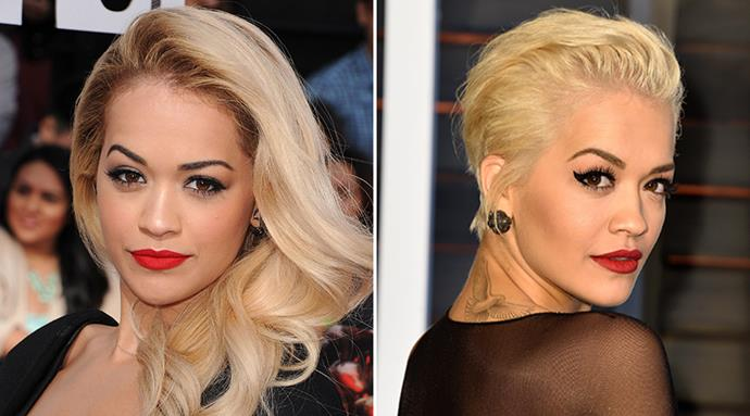 <strong>Rita Ora</strong> <br>The singer and <em>50 Shades of Grey</em> star is now making the most of her edgy platinum colour with this femme-fatale pixie cut.