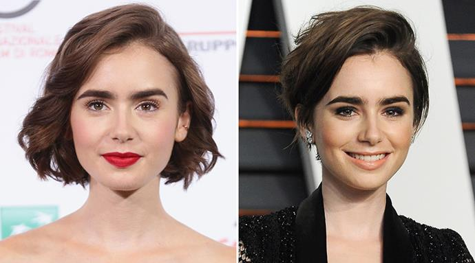 <strong>Lily Collins</strong> <br>The pretty young actress is the latest to make the chop, emphasising her trademark brows further with this messy pixie crop.