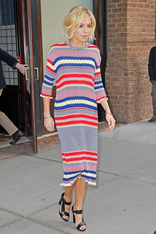 One of the original bohemian queens behind the '70s resurgance back in the early noughties, Sienna Miller is having a major moment back in the spotlight - and is still championing her favourite decade of style along the way.