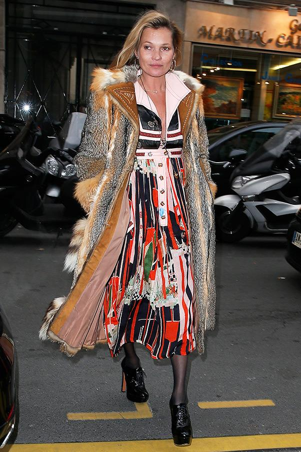 Kate Moss, our other bohemian dream girl, proves that with diva boots, fur and a dizzyingly colourful dress, you too can work a fashion flashback.