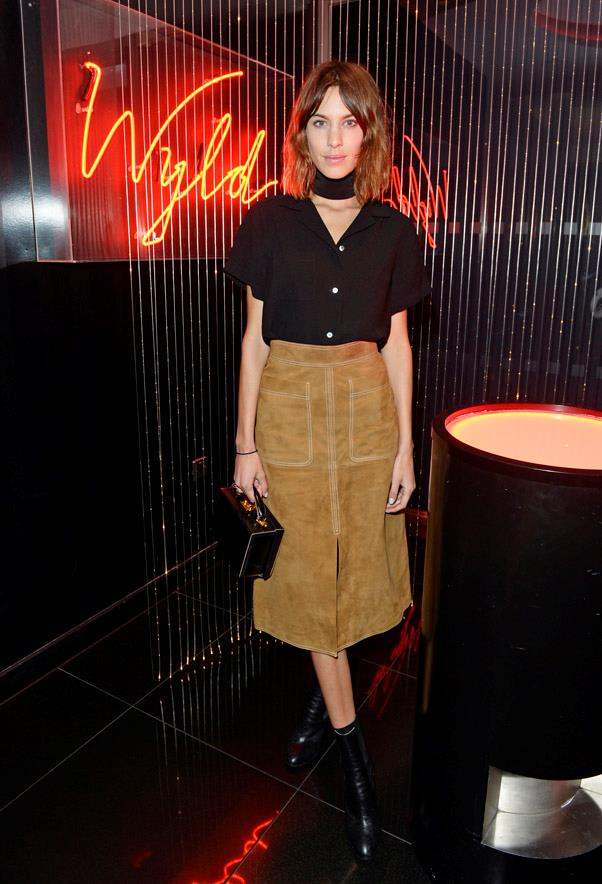 Suede is one of the biggest trends to come out of the last two show seasons, and Alexa Chung's camel tone and chic neck-tie give the look a decidedly '70s aesthetic.