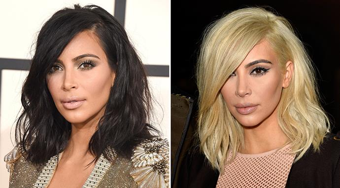 <strong>Kim Kardashian</strong> <br>It's been a big year of hair changes for Kim Kardashian, but this is undoubtedly the biggest. The reality star has transformed her new collar-bone grazing chop into a bold platinum hue, debuting it at the Balmain show overnight.