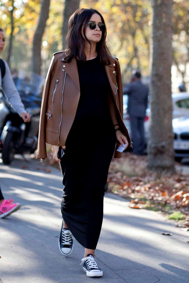A simple pair of converse paired with a maxi and leather jacket adds the perfect edge to an otherwise classic outfit.