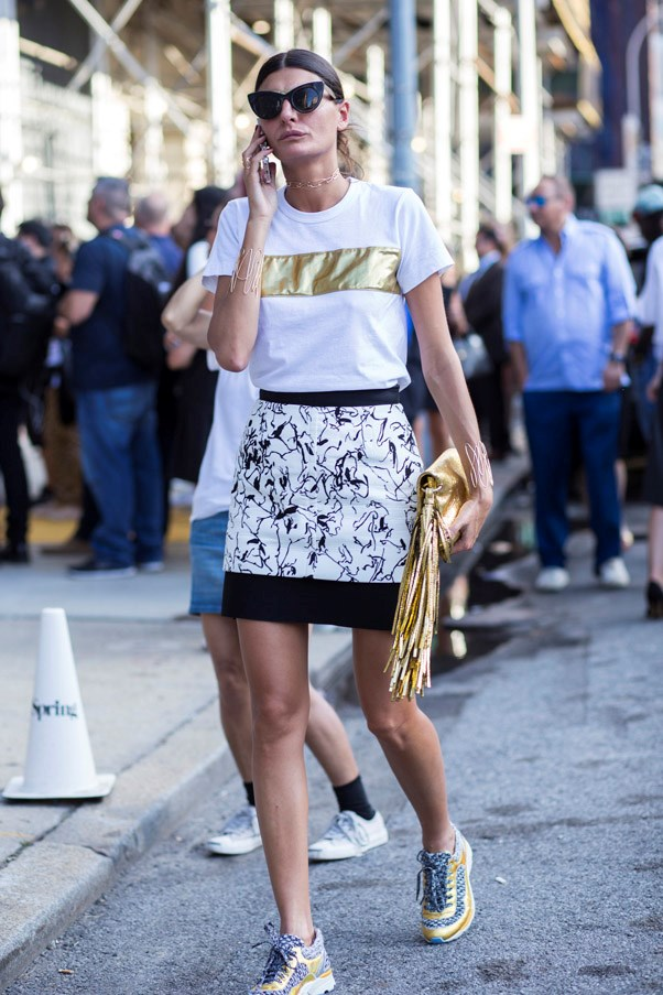 Try pairing your sneakers with a mini to take the edge off an overtly sexy length.