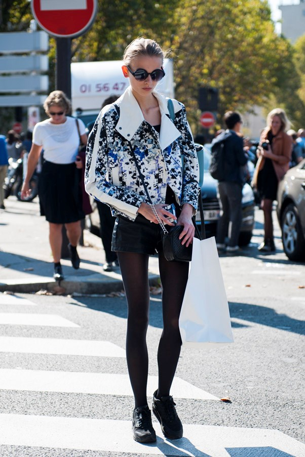 Pair your black sneakers with tights for a seamless, look-and-you'll-miss-it take on the trend.