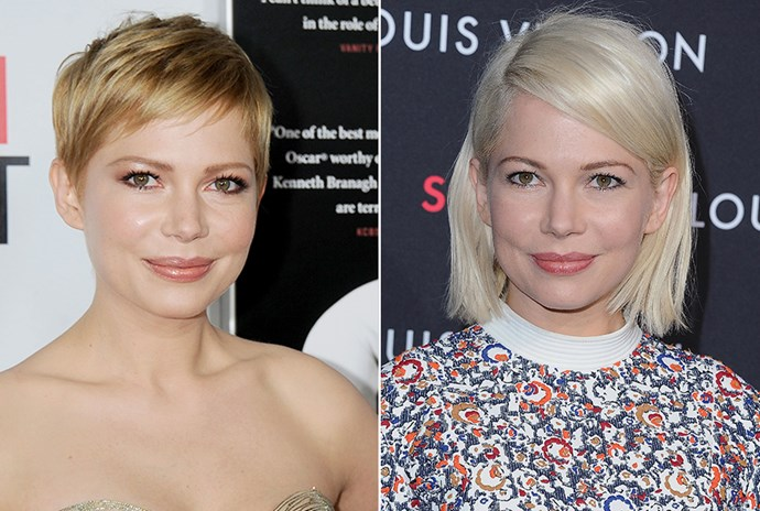 <strong>Michelle Williams</strong> <br>As we've always known Michelle Williams to be at her pixie crop best, a little later in her career we're glad she's dared to grow her hair out and make the switch to platinum.
