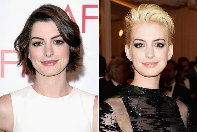 <strong>Anne Hathaway</strong> <br>A normally conventional Anne Hathaway debuted this 'do at the 2013 Met Ball. The actress gave extra edge to the statement look by leaving her brows their natural colour.