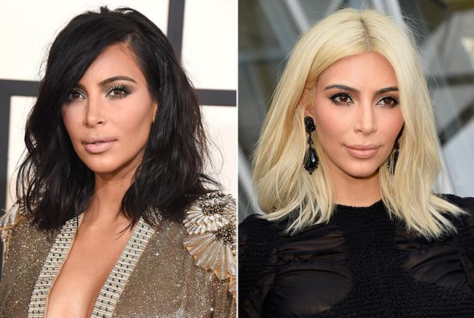 <strong>Kim Kardashian</strong> <br>Just last week we're sure you were pushed to re-think platinum. Kim Kardashian's new colour début during Paris Fashion Week surely is a hair switch of trailblazing proportions.