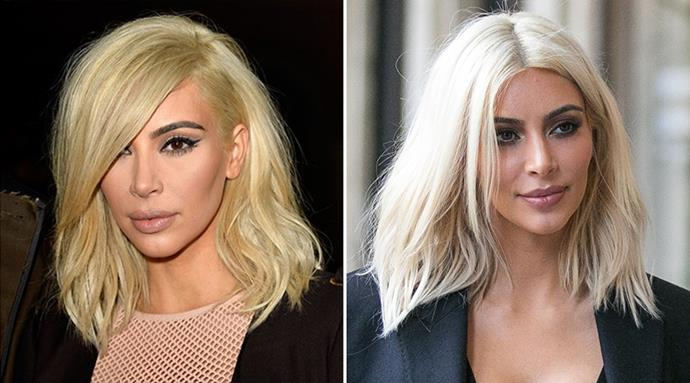 <strong>Kim Kardashian</strong> <br>Just a few days after debuting her platinum hair, the reality star went back into the salon seat to transform the yellow-hued colour to a crisp white hue that complements her skintone much more.