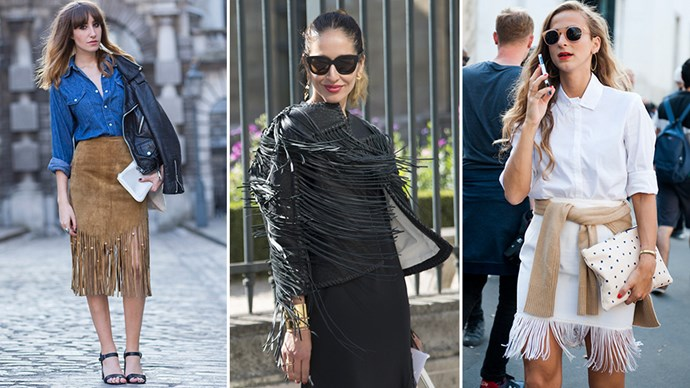 As soon as the '70s started creeping back into fashion (looking at you, Valentino), it became all too clear that fringe couldn't be far behind. After all, the two go hand in hand, especially when you throw suede into the mix (which of course, you do, because — '70s). <br><br>Add the fact that it looks great on camera and it's super fun to twirl in (see fashion blogger Helena Bordon in blue leather) and hey presto: you get one of the most popular street-style and red-carpet trends of the season. Despite its extroverted personality, fringing can actually work in all sorts of situations (see understated woman with belted grey scarf and cream trousers; now look at Dakota Fanning in blood-red Valentino), but there really is something about going full-throttle fringe. <br><br>Just ask Olivia Palermo, who did a fringe skirt and clutch and styled them with a suede shirt. Yes, she knows what's up.