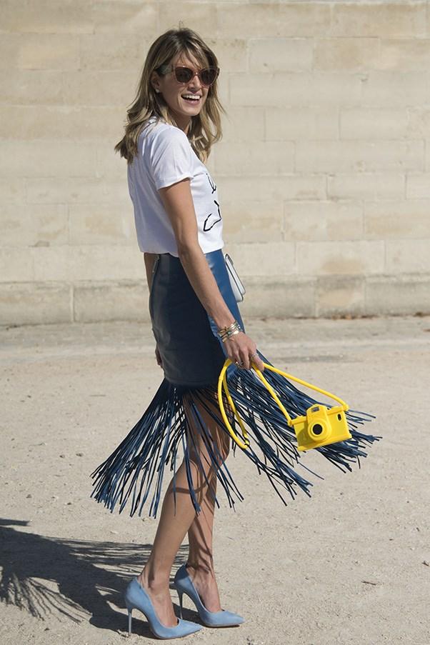 Blogger Helena Bordon in Versace top.