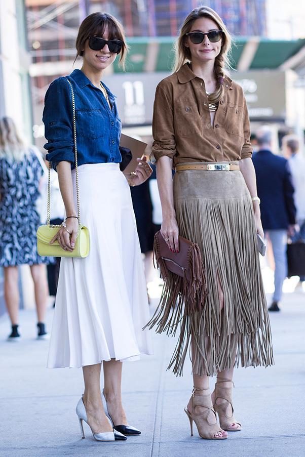 Socialite Olivia Palermo in Gerard Darel top, Michael Kors skirt, Carolina Herrera bag and Aquazzura shoes.