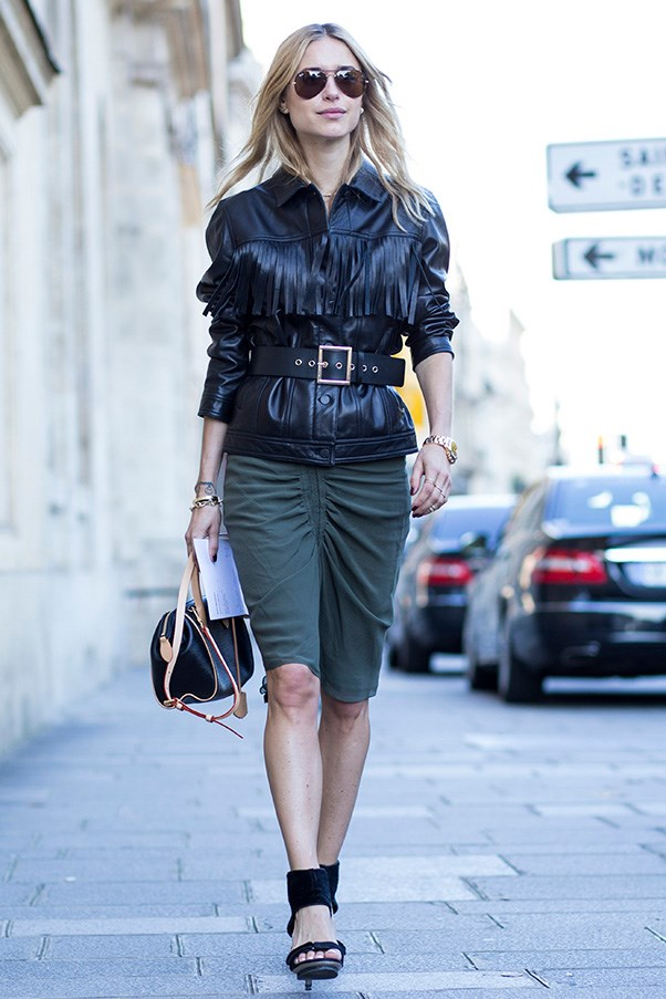 Stylist and blogger Pernille Teisbaek in Joseph jacket, Isabel Marant skirt and Louis Vuitton bag.