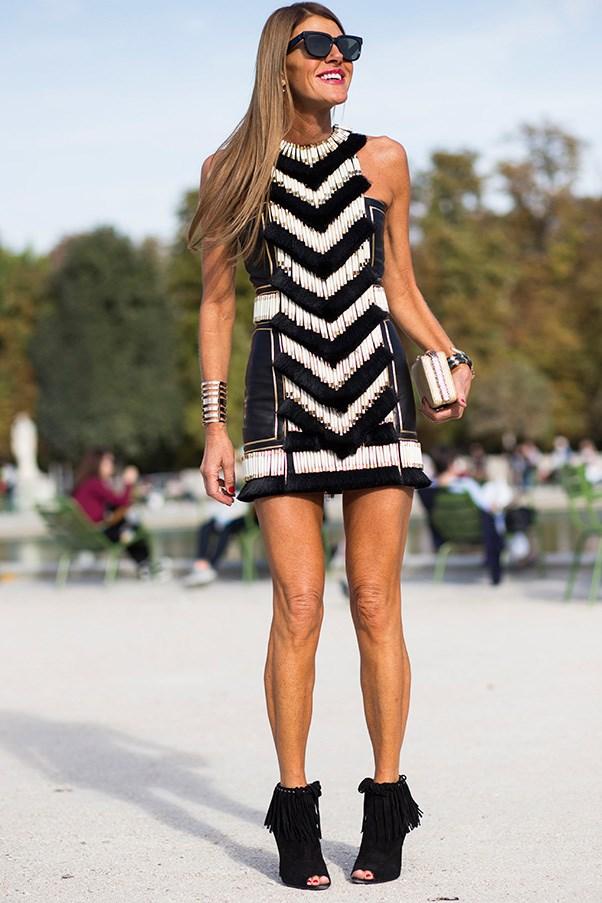 Style editor Anna Dello Russo in Balmain dress.