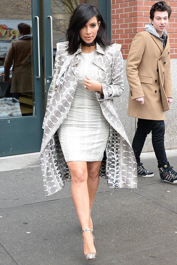 Print on print on print? Kim says yes, wearing this ensemble while out and about in New York on the 10th the February 2015.