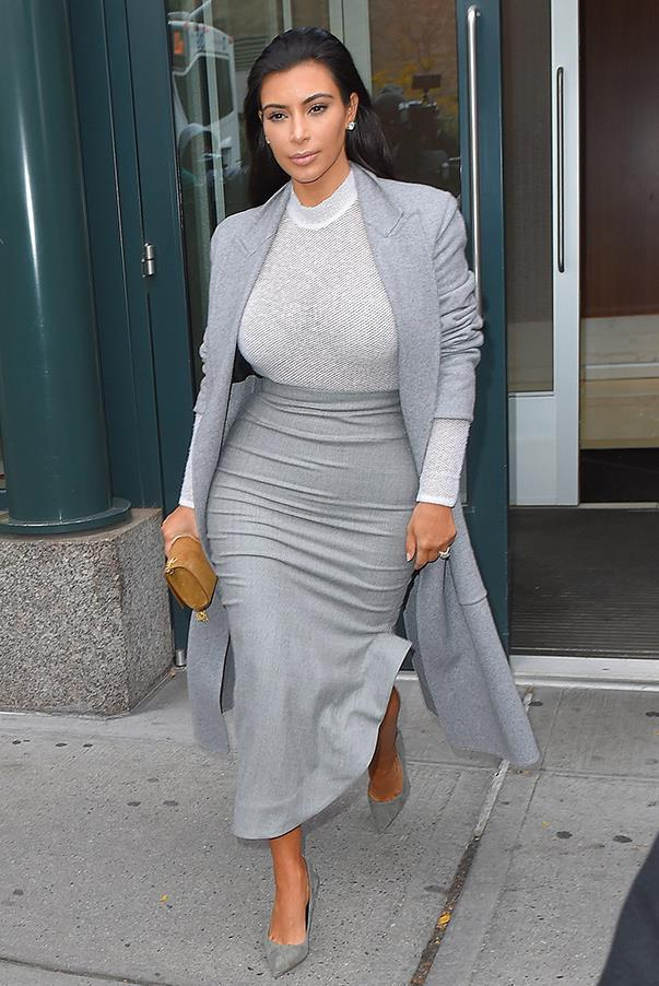 Clearly a fan of a softer colour palette, Kim looks elegant in a blue and grey hues while out and about in New York on the 7th of Nov.