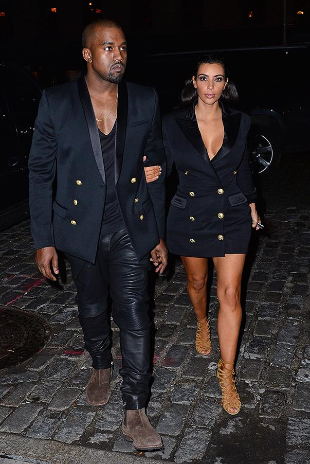 Kim and Kanye play matchy-matchy wearing black smoking Balmain jackets in New York on the 6th of Nov. 2014.