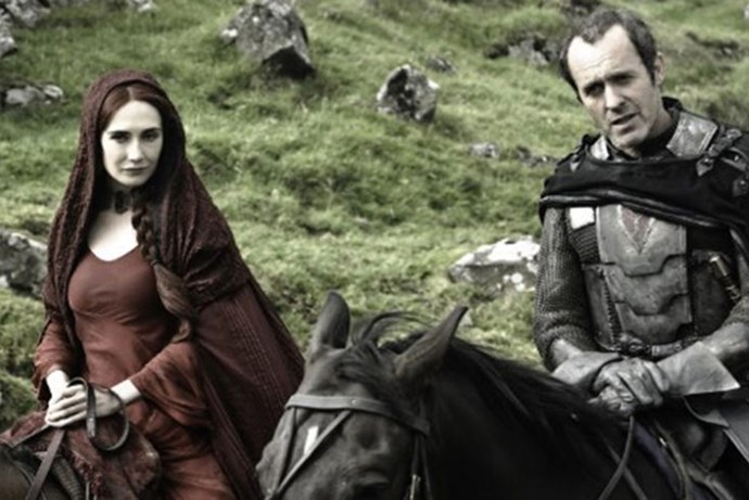 <strong>SEASON 2</strong> <br><br>Melisandre and Stannis Baratheon <br><br>Photo credit: HBO