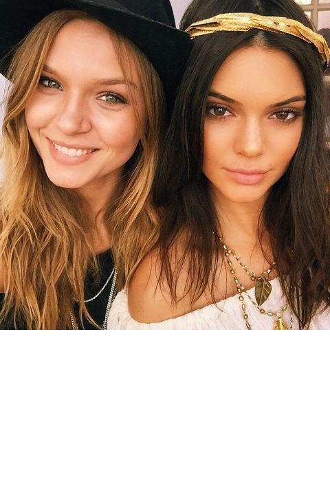 "<strong>KENDALL JENNER</strong> <br>Jenner, here with fellow model Josephine Skriver, wears the Alexandra Koumba Fern Headpiece. <br><a href=""https://instagram.com/p/1WftxgDozL/"">@kendalljenner</a>"