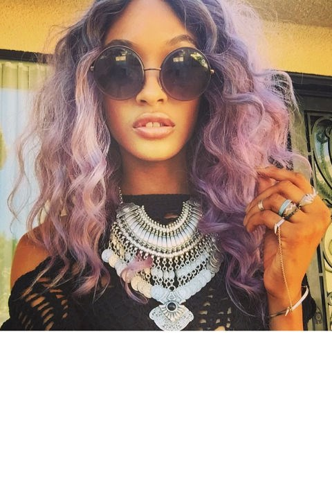 """<strong>JOURDAN DUNN</strong> <br>The model wore silver-teal extensions to the festival one day, then transformed the next with big curls and cool lilac colour. <br><a href=""""https://instagram.com/p/1bn1lMQRHY/"""">@officialjdunn</a>"""