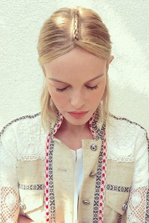 "<strong>KATE BOSWORTH</strong> <br>Hairstylist Bridget Brager created the actress's gorgeous braided headpiece by cornrow-ing a section of hair from the center up from the crown, parting it at the forehead and pinning it behind the ears. <br><a href=""https://instagram.com/p/1YlT_orcTC/"">@katebosworth</a>"
