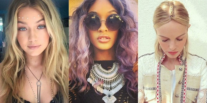 We're rounding up the models and celebrities who took festival beauty and all its accoutrements—headpieces! tattoos! braids!—to the next level.