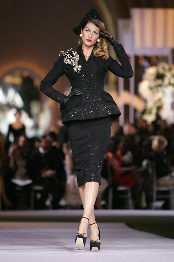 <br><strong>Christian Dior</strong> <br><strong><em>2008</em></strong> <br>The veteran model has the honour of sashaying down the runway for the Christian Dior 60th Anniversary show.