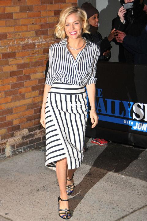<strong>Get Vertical</strong> <br>Optical illusions really do work. Add vertical striped skirts and trousers to your closet (shirts work too), to create the impression of a taller, thinner you.