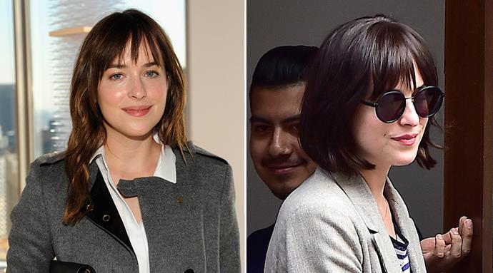 <strong>Dakota Johnson</strong> <br>The Fifty Shades actress firmly seperated herself from her mousy lead character when she stepped out over the weekend with this shorn-off bob complete with piecy bangs.