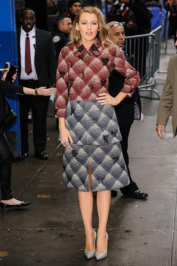 The first outfit of the day: arriving at the Good Morning America studios in Marc Jacobs in the morning.