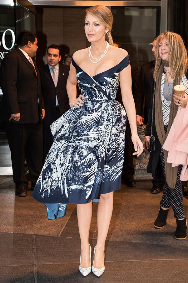 In pearls and print while arriving at filming for The Tonight Show with Jimmy Fallon.