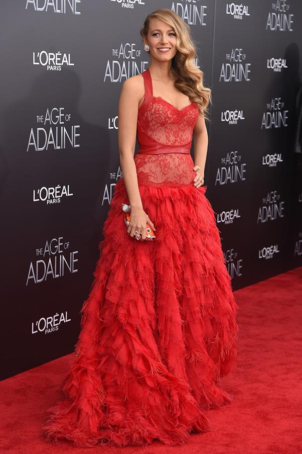 This wasn't Lively's first day of press events: the day before, Lively was a vision in a scarlet Monique Lhuillier ruffled gown at the New York premiere of <em>The Age of Adaline</em> - complete with $5 million worth of Lorraine Schwartz jewellery, naturally.