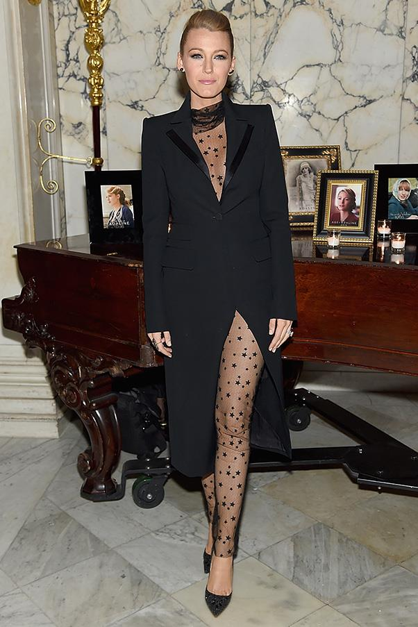 For the after party, Lively then changed into a s<em>heer bodysuit</em> - yes, really - and tailored coat also designed by Monique Lhuillier.