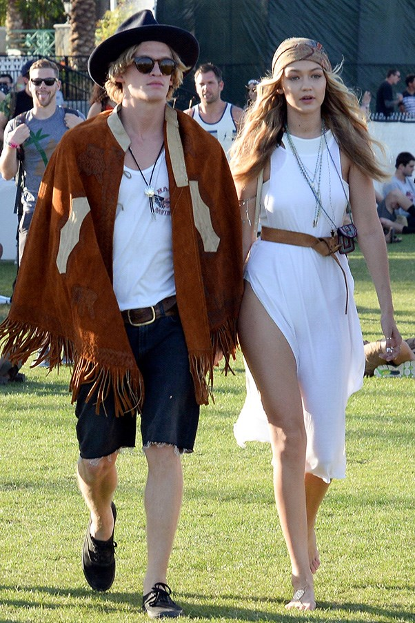 Serious bohemian vibes with ex-boyfriend Cody Simpson at Coachella Music Festival.