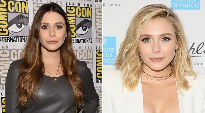 <strong>Elizabeth Olsen</strong> <br>Less than a year ago, the talented 26-year-old was sporting rib-length cascades in a warm brunette. Fast forward to some gradual cuts and colours and her new look is butter blonde and collarbone grazing - and is definitely our favourite of the two.
