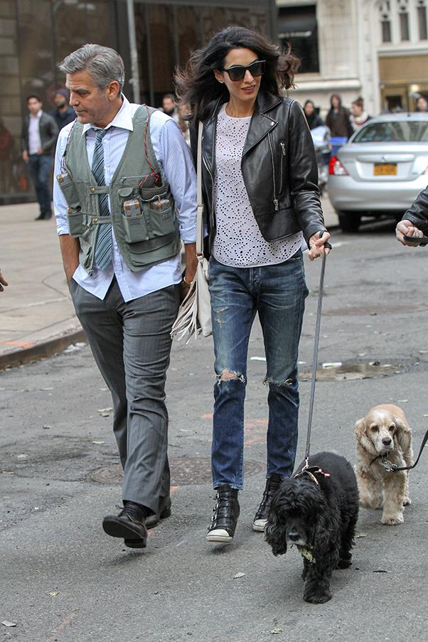Proof that basics are always a winner, while visiting husband George Cloony on the set of 'Money Mystery' Amal opted for a classic look with ripped jeans, sneakers and a leather jacket ensemble.