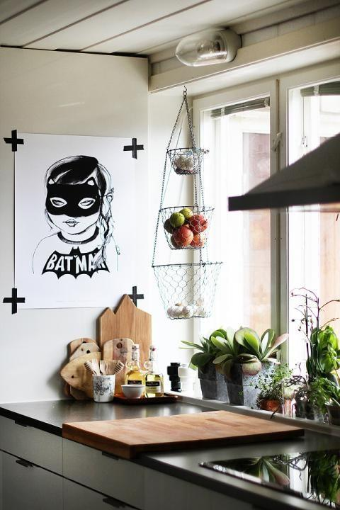 "<strong>TAPE AS DECOR</strong> <br><br>Blogger <strong><a href=""http://www.anmagritt.no/"">An Magritt</a></strong> used tape (black, of course — no Washi tape here!) to hang up this poster in her kitchen. It's perfect: Non-permanent, so you can change up your artwork frequently, and still graphic enough to make a statement by itself. <br><br><strong>Photo credit</strong>: An Magritt"