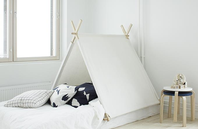 "<strong>TENTS</strong> <br><br>What kid wouldn't want to fall asleep under these cute, wood-stick tents? Here, Finnish interior designer <strong><a href=""http://susannavento.fi/"">Susanna Vento</a> </strong>created a monochrome bed complete with an adorable tented canopy, as seen in <strong><a href=""http://em.elledecoration.se/the-sato-project-by-susanna-vento/"">ELLE Decoration Sweden</a></strong>. Let's hope this playful trend becomes popular in ASAP! <br><br><strong>Photo credit</strong>: Susanna Vento"
