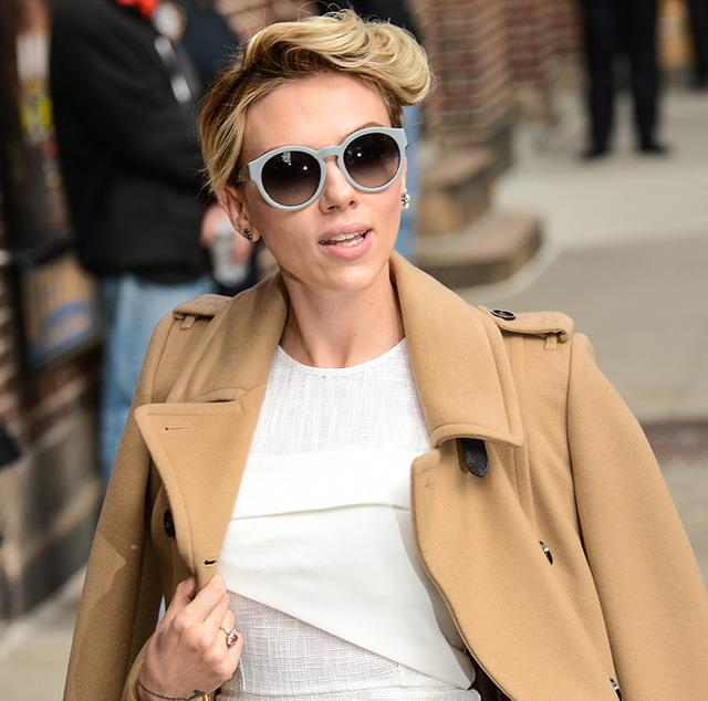 Scarlett Johansson proves the round shape work just as well dressed up as they do off-duty.