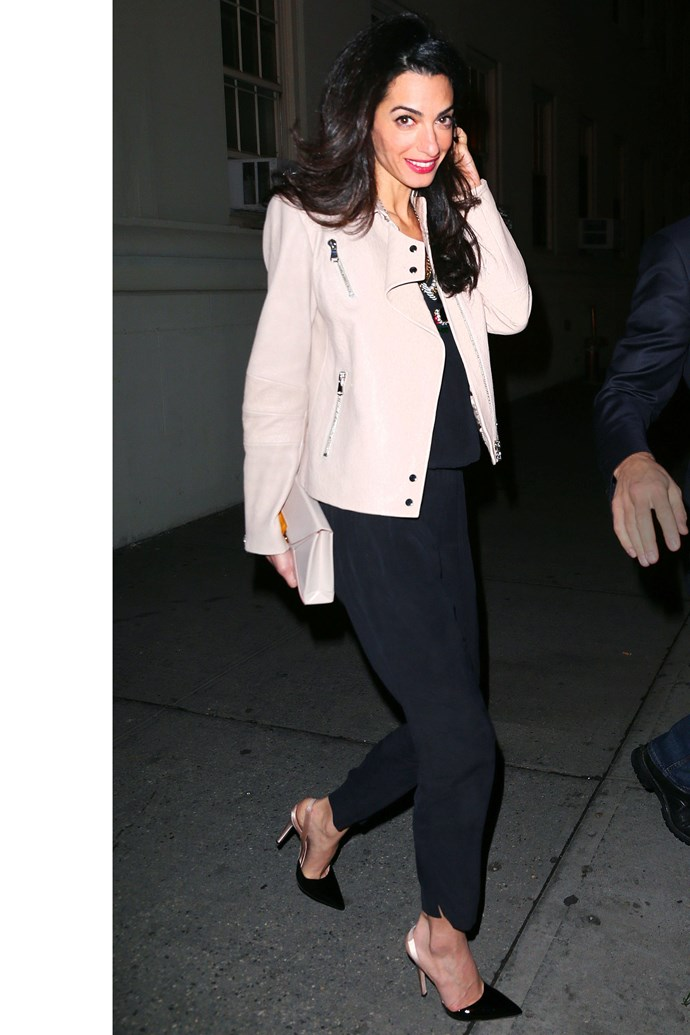 <strong>What:</strong> J Brand Leather Jacket <strong>When:</strong> April 20, 2015 <strong>Where:</strong> Dinner with her husband and Julia Roberts at Claudette in NYC