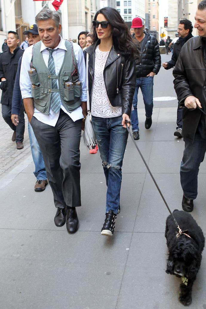 <strong>What:</strong> Balenciaga jacket, Citizens of Humanity jeans and Ash sneakers <strong>When:</strong> April 12, 2015 <strong>Where:</strong> On the set of Money Monster in NYC