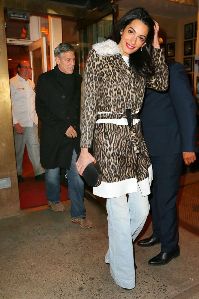 <strong>What:</strong> Giambattista Valli coat <strong>When:</strong> March 23, 2015 <strong>Where: </strong>Dining with her husband and his mom at Patsy's in NYC
