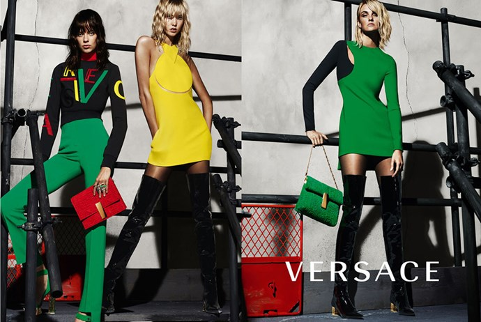 <strong>What: Versace <br>Who: </strong>Lexi Boling, Karlie Kloss and Caroline Trentini captured by Mert & Marcus.