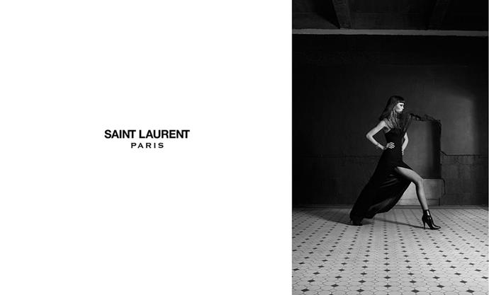 <strong>What: Saint Laurent <br>Who: </strong>Gothic beauty Flo Dron.