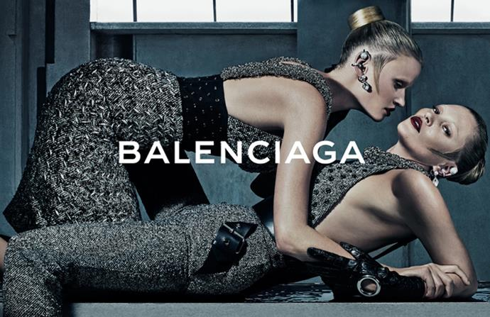 Alexander Wang tapped blonde icons Lara Stone and Kate Moss for his sexy new campaign for Balenciaga, photographed by Steven Klein and making us want to wish everything from this collection was in our winter wardrobe, right now.
