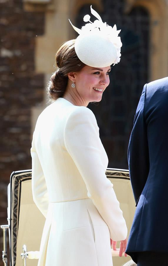 HRH opted for a statement-making headpiece by Jane Taylor for daughter Princess Charlotte's christening.